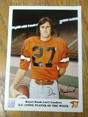1974 ROYAL BANK PHOTO Don Moorhead BC LIONS- U Michigan