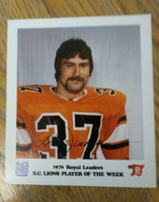1976 ROYAL BANK PHOTO Glen Jackson BC LIONS-CFL Hall of Famer-SFU